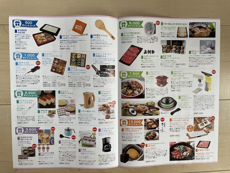 食宅便のポイントを貯めると選べる景品カタログの中身